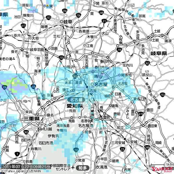名古屋の天気(雨) 降水強度: 5.25(mm/h)  2019年07月27日 09時25分の雨雲 https://t.co/cYrRU9sV0H #雨雲bot #bot https://t.co/HNvwvkLZOQ