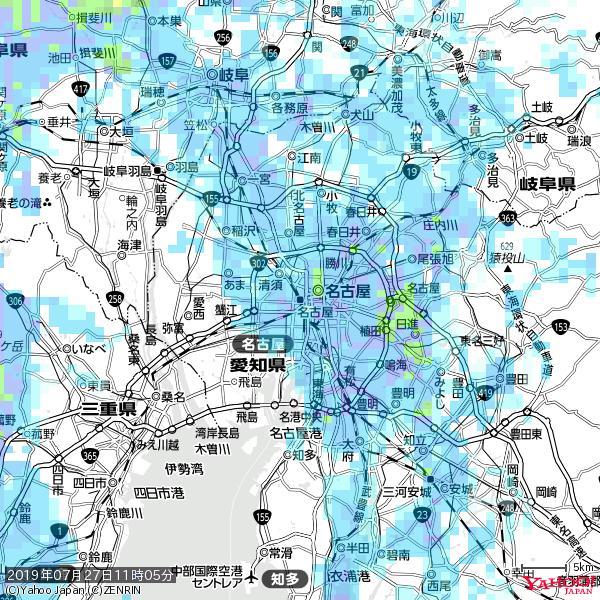 名古屋の天気(雨) 降水強度: 7.25(mm/h)  2019年07月27日 11時05分の雨雲 https://t.co/cYrRU9sV0H #雨雲bot #bot https://t.co/UPmx3pCNRk