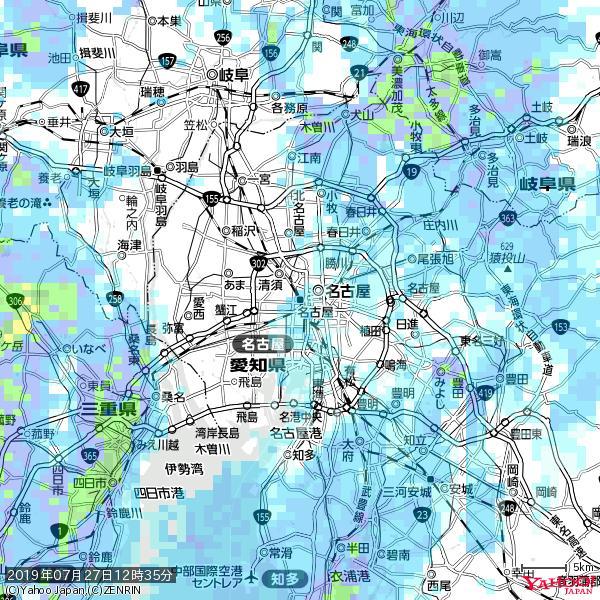 名古屋の天気(雨) 降水強度: 2.13(mm/h)  2019年07月27日 12時35分の雨雲 https://t.co/cYrRU9sV0H #雨雲bot #bot https://t.co/iRBfKVn2oK