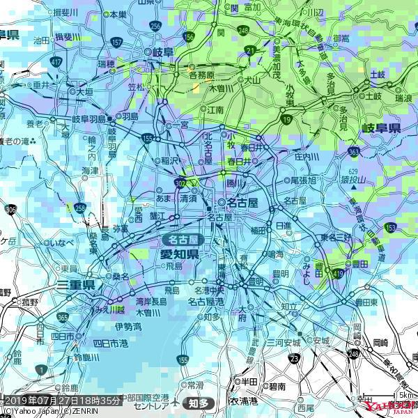 名古屋の天気(雨) 降水強度: 7.75(mm/h)  2019年07月27日 18時35分の雨雲 https://t.co/cYrRU9sV0H #雨雲bot #bot https://t.co/V8vcSaQvET