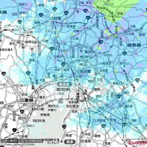 名古屋の天気(雨) 降水強度: 8.25(mm/h)  2019年07月27日 19時30分の雨雲 https://t.co/cYrRU9sV0H #雨雲bot #bot https://t.co/vUFwQn40RE
