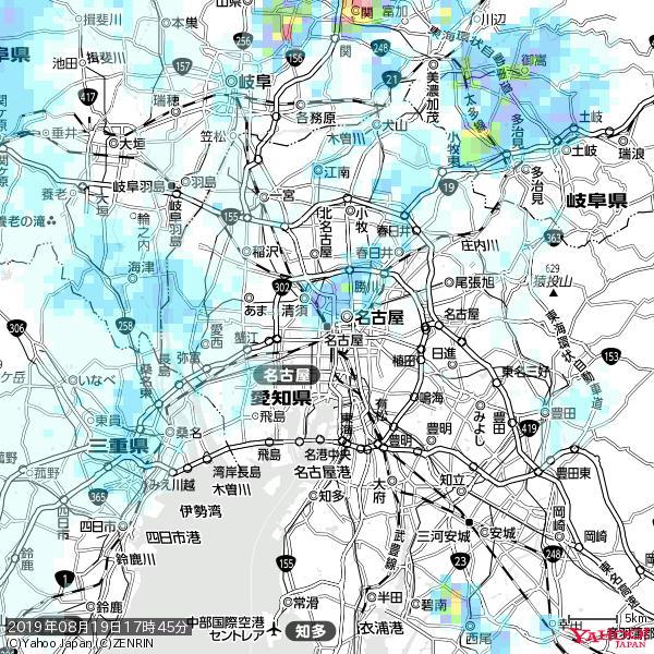 名古屋の天気(雨) 降水強度: 0.85(mm/h)  2019年08月19日 17時45分の雨雲 https://t.co/cYrRU9sV0H #雨雲bot #bot https://t.co/hm2jm0tht0