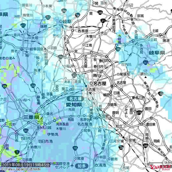 名古屋の天気(雨) 降水強度: 2.38(mm/h)  2019年08月19日 19時45分の雨雲 https://t.co/cYrRU9sV0H #雨雲bot #bot https://t.co/ny60T4DZfd
