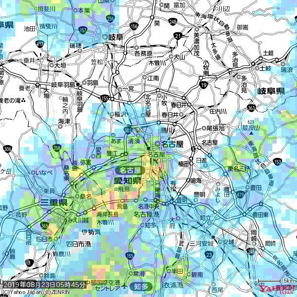 名古屋の天気(雨): 強い雨 降水強度: 28.50(mm/h)  2019年08月23日 05時45分の雨雲 https://t.co/cYrRU9sV0H #豪雨bot #雨雲bot #bot https://t.co/GJUqGz4HEp