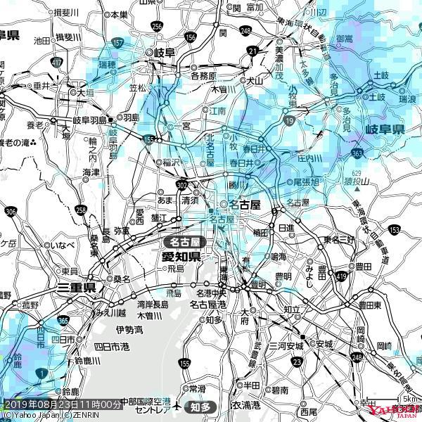名古屋の天気(雨) 降水強度: 1.05(mm/h)  2019年08月23日 11時00分の雨雲 https://t.co/cYrRU9sV0H #雨雲bot #bot https://t.co/USuC7AARUh