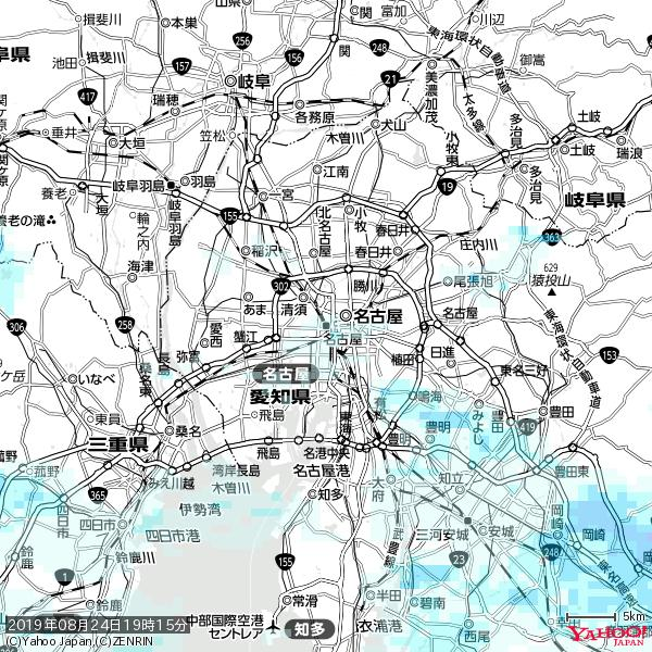 名古屋の天気(雨) 降水強度: 0.55(mm/h)  2019年08月24日 19時15分の雨雲 https://t.co/cYrRU9sV0H #雨雲bot #bot https://t.co/1PgSzcOGYZ
