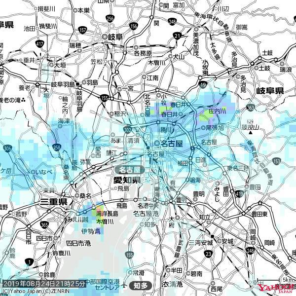名古屋の天気(雨) 降水強度: 3.63(mm/h)  2019年08月24日 21時25分の雨雲 https://t.co/cYrRU9sV0H #雨雲bot #bot https://t.co/QyEEhKPCdg