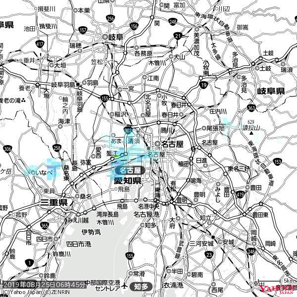 名古屋の天気(雨) 降水強度: 0.75(mm/h)  2019年08月25日 06時45分の雨雲 https://t.co/cYrRU9sV0H #雨雲bot #bot https://t.co/YCyUG82LkA
