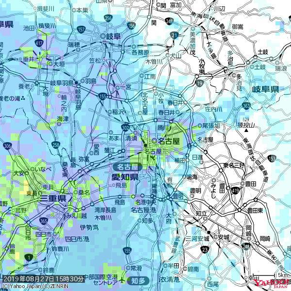 名古屋の天気(雨): 強い雨 降水強度: 25.50(mm/h)  2019年08月27日 15時30分の雨雲 https://t.co/cYrRU9sV0H #豪雨bot #雨雲bot #bot https://t.co/8tKtjWIwNZ