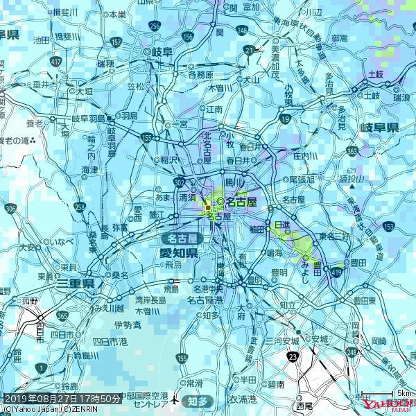 名古屋の天気(雨): 激しい雨 降水強度: 38.50(mm/h)  2019年08月27日 17時50分の雨雲 https://t.co/cYrRU9sV0H #豪雨bot #雨雲bot #bot https://t.co/uantCMg2P2