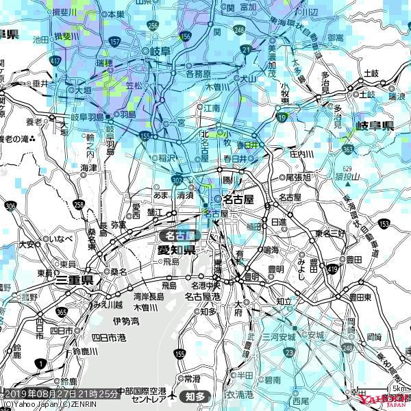 名古屋の天気(雨) 降水強度: 2.63(mm/h)  2019年08月27日 21時25分の雨雲 https://t.co/cYrRU9sV0H #雨雲bot #bot https://t.co/TtYLO51QfT