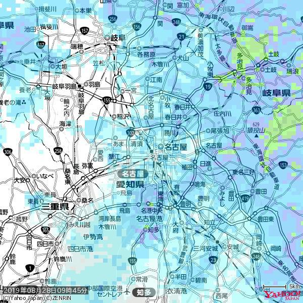 名古屋の天気(雨) 降水強度: 1.95(mm/h)  2019年08月28日 09時45分の雨雲 https://t.co/cYrRU9sV0H #雨雲bot #bot https://t.co/LzDohZozDp