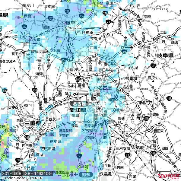 名古屋の天気(雨) 降水強度: 1.65(mm/h)  2019年08月28日 11時40分の雨雲 https://t.co/cYrRU9sV0H #雨雲bot #bot https://t.co/th1PgZLbkx