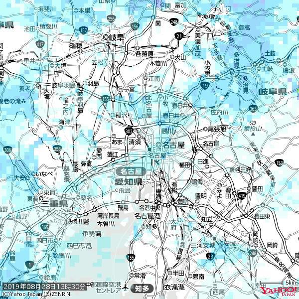 名古屋の天気(雨) 降水強度: 1.85(mm/h)  2019年08月28日 13時30分の雨雲 https://t.co/cYrRU9bk99 #雨雲bot #bot https://t.co/yh02waKLJ7