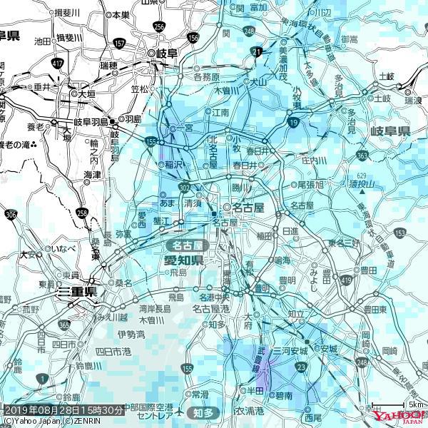 名古屋の天気(雨) 降水強度: 2.63(mm/h)  2019年08月28日 15時30分の雨雲 https://t.co/cYrRU9bk99 #雨雲bot #bot https://t.co/FzZOQ9Lusx