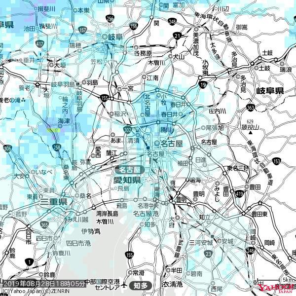 名古屋の天気(雨) 降水強度: 2.38(mm/h)  2019年08月28日 18時05分の雨雲 https://t.co/cYrRU9sV0H #雨雲bot #bot https://t.co/BLTOFHdqMg