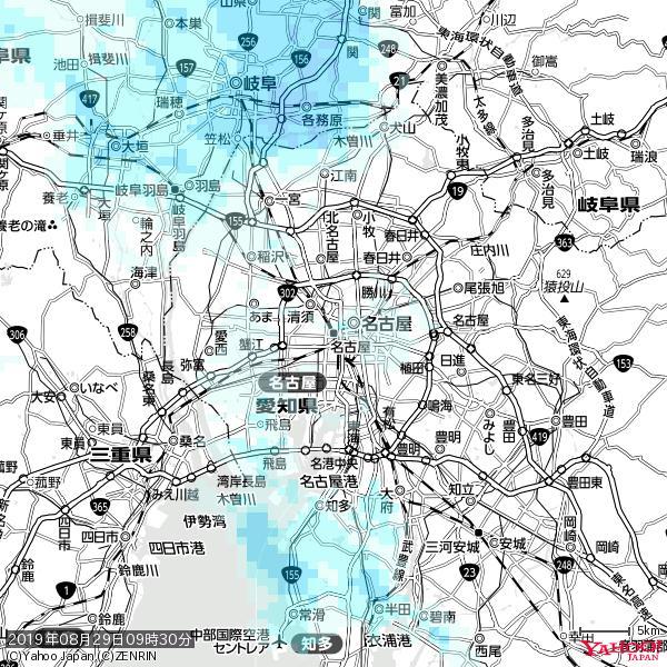 名古屋の天気(雨) 降水強度: 0.75(mm/h)  2019年08月29日 09時30分の雨雲 https://t.co/cYrRU9sV0H #雨雲bot #bot https://t.co/un1HwR91NI