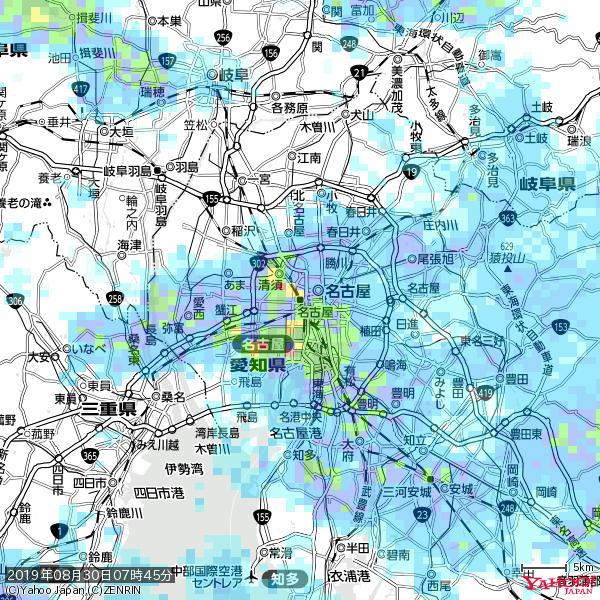 名古屋の天気(雨): 強い雨 降水強度: 22.50(mm/h)  2019年08月30日 07時45分の雨雲 https://t.co/cYrRU9bk99 #豪雨bot #雨雲bot #bot https://t.co/oVqV5y7iOV
