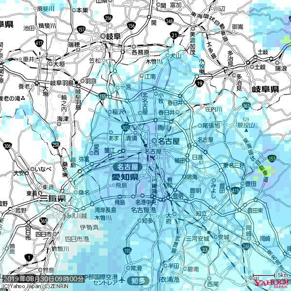 名古屋の天気(雨) 降水強度: 5.75(mm/h)  2019年08月30日 09時00分の雨雲 https://t.co/cYrRU9sV0H #雨雲bot #bot https://t.co/ej79yToka4