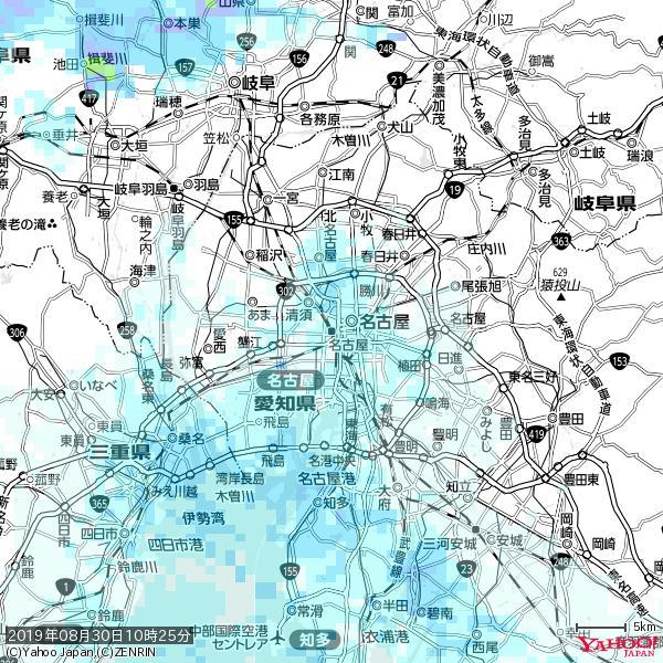 名古屋の天気(雨) 降水強度: 1.85(mm/h)  2019年08月30日 10時25分の雨雲 https://t.co/cYrRU9sV0H #雨雲bot #bot https://t.co/7n0lhnEpKF