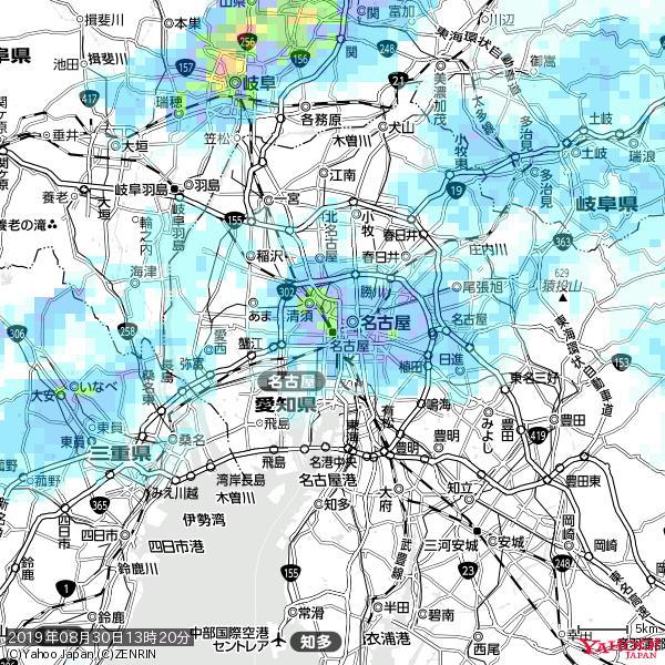 名古屋の天気(雨): やや強い雨 降水強度: 13.50(mm/h)  2019年08月30日 13時20分の雨雲 https://t.co/cYrRU9sV0H #雨雲bot #bot https://t.co/VUGapZCm2m