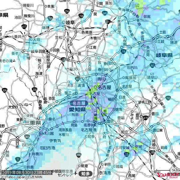 名古屋の天気(雨): やや強い雨 降水強度: 15.50(mm/h)  2019年08月30日 23時45分の雨雲 https://t.co/cYrRU9sV0H #雨雲bot #bot https://t.co/Hk1eHfMipj