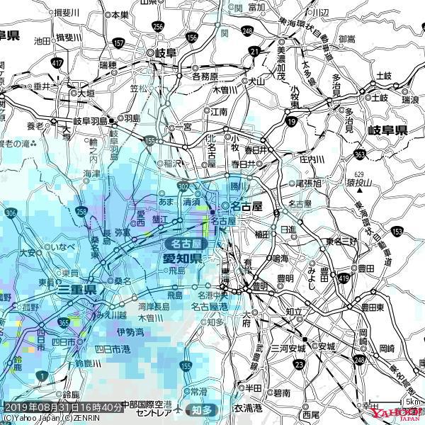 名古屋の天気(雨) 降水強度: 8.25(mm/h)  2019年08月31日 16時40分の雨雲 https://t.co/cYrRU9sV0H #雨雲bot #bot https://t.co/gkg8MHELUB