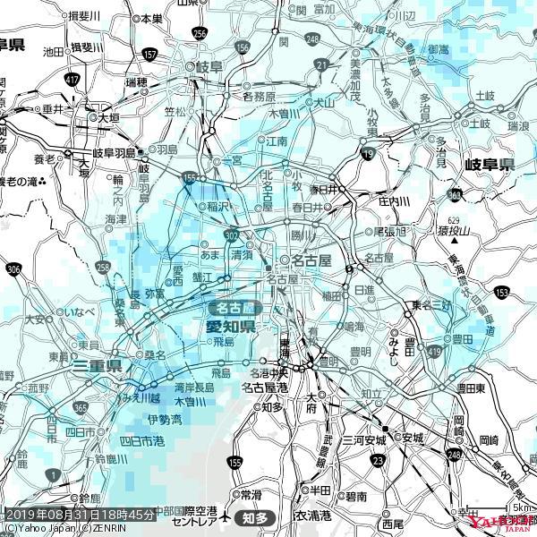 名古屋の天気(雨) 降水強度: 0.95(mm/h)  2019年08月31日 18時45分の雨雲 https://t.co/cYrRU9sV0H #雨雲bot #bot https://t.co/9hBjzovB0E