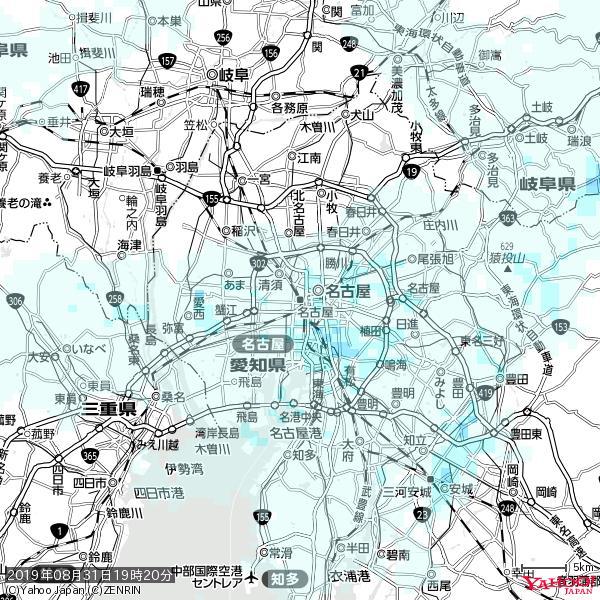 名古屋の天気(雨) 降水強度: 0.95(mm/h)  2019年08月31日 19時20分の雨雲 https://t.co/cYrRU9sV0H #雨雲bot #bot https://t.co/BzqUIKDI1W