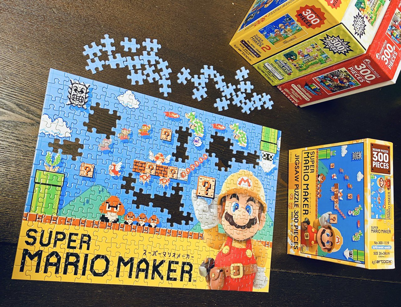 スーパーマリオメーカー ジグソーパズル 300ピース。家族で力を合わせてやってみたけどなかなか完成しない(;´∀`) https://t.co/15XwiK9os7