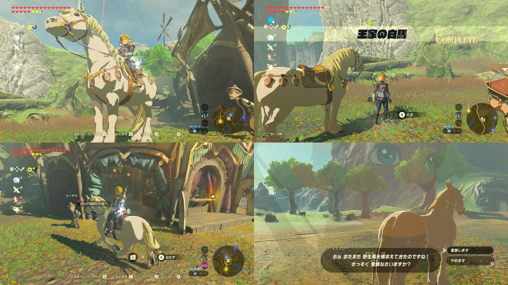 馬は5頭ぐらいまでしか預けられないのね... 泣く泣く預けていた1頭をあきらめて白馬を登録(´;ω;`)ブワッ なんかリンク睨みつけてない? #ゼルダの伝説 #BreathoftheWild #NintendoSwitch https://t.co/O4Aqz41IOF
