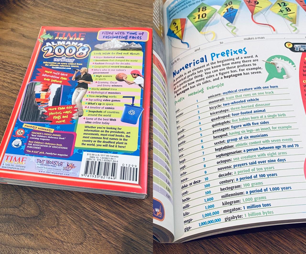 パラパラと眺めてたら Numerical Prefixes あった。  Amazon | Time for Kids: Almanac 2008 (Time For Kids Almanac) | Editors of TIME For Kids Magazine | Almanacs https://t.co/WeCLCm7lHg https://t.co/Lh1X2YUx21