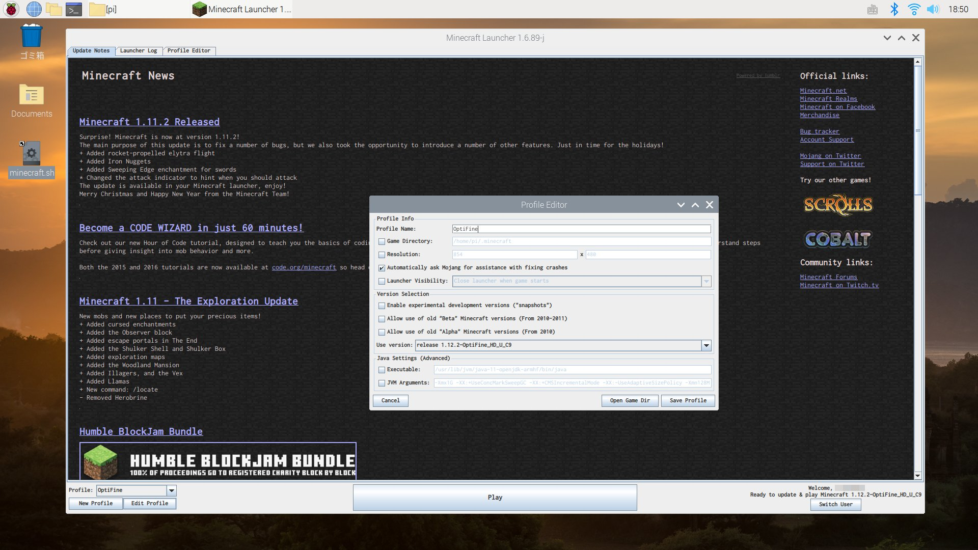 Raspberry Pi 3 Model B + Raspbian GNU/Linux 10 Buster に Minecraft JAVA EDITION をインストール。 https://t.co/ITfdrbpgPU