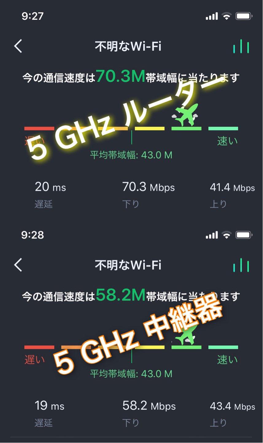 Wi-Fi 中継器を買った。玄関に設置して、庭から 5GHz 通信速度計測してみたけど、中継器のほうが遅かった(  ;∀;) 性能の問題か、設置場所の問題か。2回計測してみたけどだいたい同じ感じ。2.4GHz ではルーターも中継器もほぼ同じ速度。 https://t.co/9xAgPVRIXK