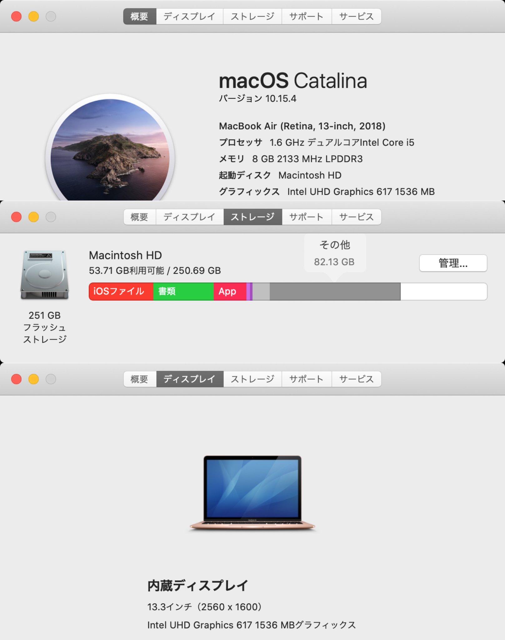手元にある MacBook Air 2018 のスペック。 CPU: Intel Core i5 1.6GHz デュアルコア RAM: 8GB SSD: 251GB 内蔵ディスプレイ: 13.3インチ (2560 x 1600) GPU: Intel UHD Graphics 617 1536MB https://t.co/zXw2a8PhYo