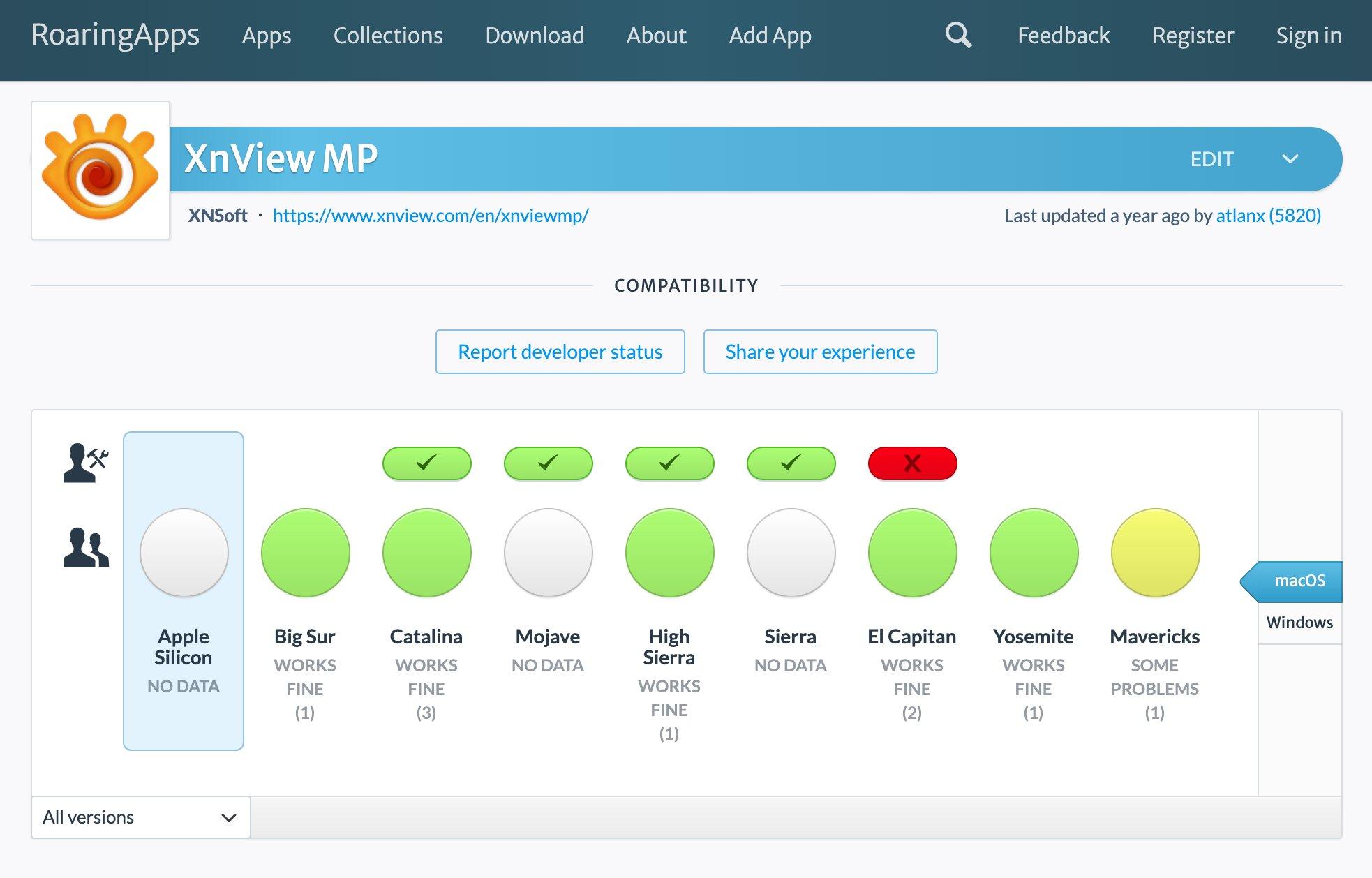 公式サイトを見てもよくわからなかったけど macOS Big Sur でも動きそうな雰囲気。  XnView MP – RoaringApps https://t.co/O0IWlgXXSf https://t.co/9XuAZybWBm