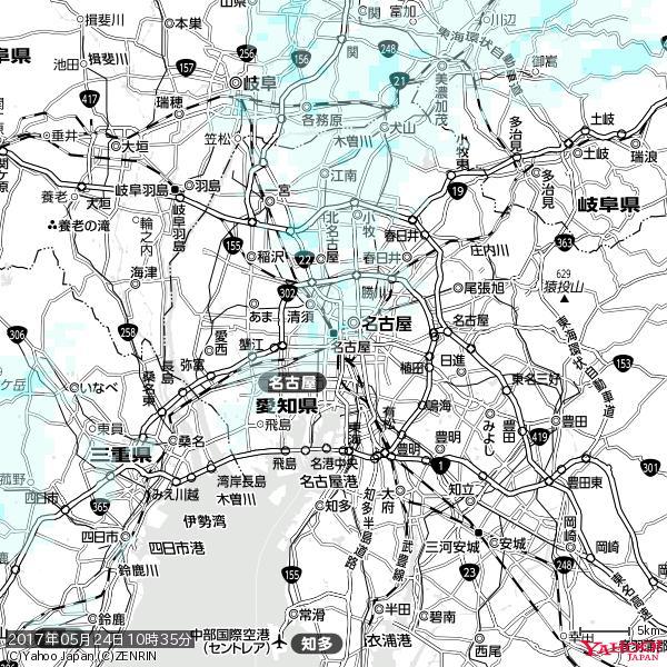 名古屋の天気(雨) 降水強度: 1.15(mm/h)  2017年05月24日 10時35分の雨雲 https://t.co/cYrRU9sV0H #雨雲bot #bot https://t.co/YhLH38FmnN
