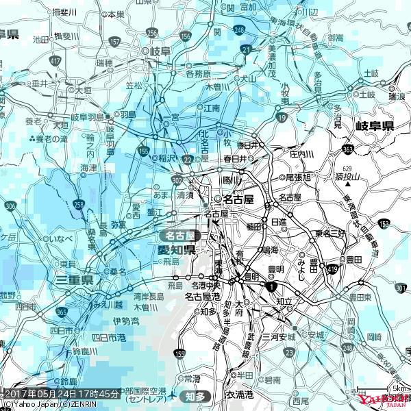 名古屋の天気(雨) 降水強度: 0.75(mm/h)  2017年05月24日 17時45分の雨雲 https://t.co/cYrRU9sV0H #雨雲bot #bot https://t.co/u8L9KZbzxq