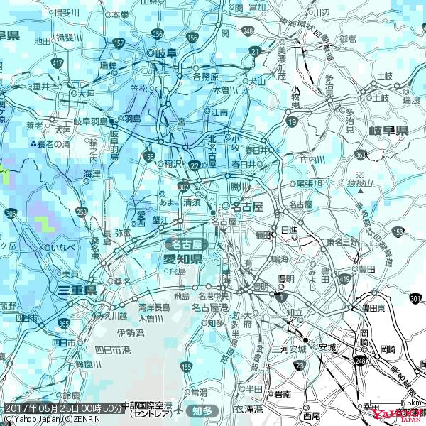 名古屋の天気(雨) 降水強度: 1.25(mm/h)  2017年05月25日 00時50分の雨雲 https://t.co/cYrRU9sV0H #雨雲bot #bot https://t.co/Y4eATPayv5