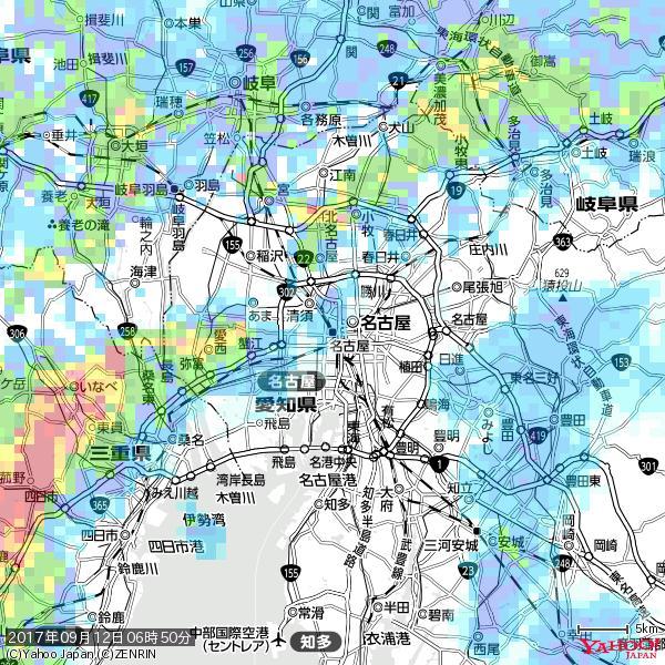 名古屋の天気(雨) 降水強度: 5.25(mm/h)  2017年09月12日 06時50分の雨雲 https://t.co/cYrRU9sV0H #雨雲bot #bot https://t.co/w59Eqo4u7d