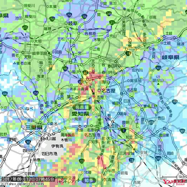 名古屋の天気(雨): 強い雨 降水強度: 25.50(mm/h)  2017年09月12日 07時45分の雨雲 https://t.co/cYrRU9sV0H #豪雨bot #雨雲bot #bot https://t.co/WllWcQd8Wd