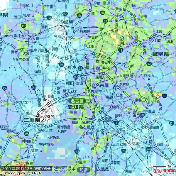 名古屋の天気(雨): やや強い雨 降水強度: 17.50(mm/h)  2017年09月12日 08時05分の雨雲 https://t.co/cYrRU9sV0H #雨雲bot #bot https://t.co/B46vHbfh2s