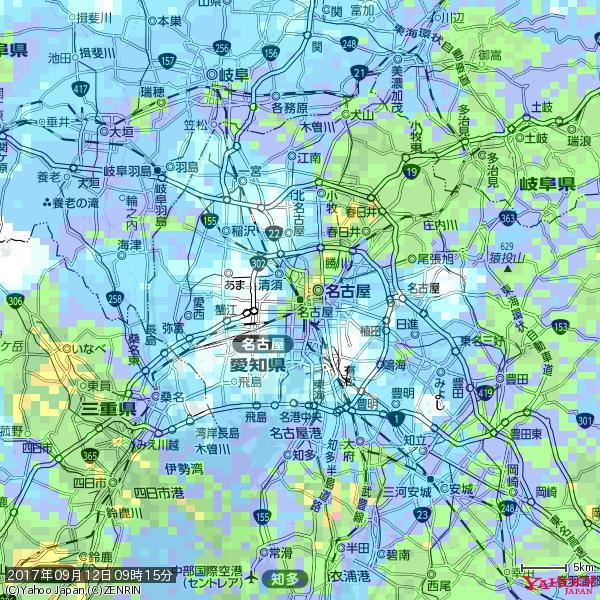 名古屋の天気(雨): やや強い雨 降水強度: 14.50(mm/h)  2017年09月12日 09時15分の雨雲 https://t.co/cYrRU9sV0H #雨雲bot #bot https://t.co/W3vqLFejKd