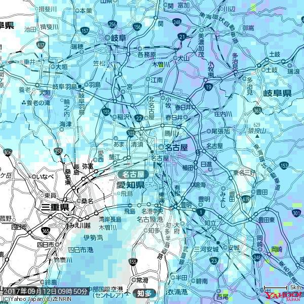 名古屋の天気(雨) 降水強度: 1.65(mm/h)  2017年09月12日 09時50分の雨雲 https://t.co/cYrRU9sV0H #雨雲bot #bot https://t.co/EtCuAHOSiV