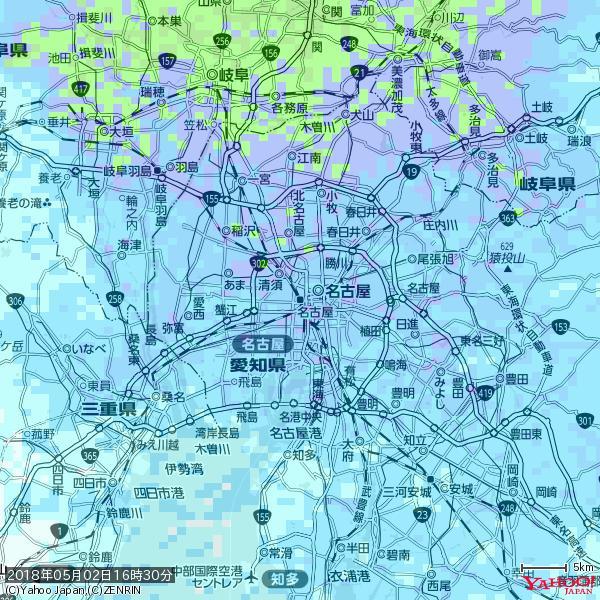 名古屋の天気(雨) 降水強度: 7.25(mm/h)  2018年05月02日 16時30分の雨雲 https://t.co/cYrRU9sV0H #雨雲bot #bot https://t.co/RR0bGPQwJq