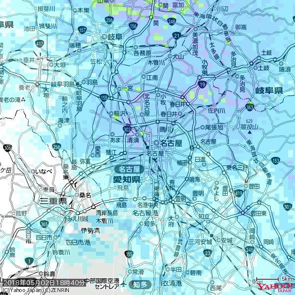 名古屋の天気(雨) 降水強度: 6.75(mm/h)  2018年05月02日 18時40分の雨雲 https://t.co/cYrRU9sV0H #雨雲bot #bot https://t.co/o9CTe9U5UX