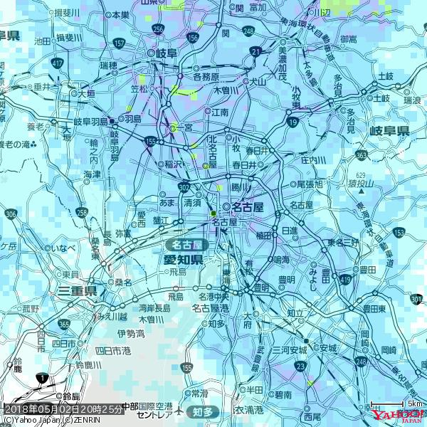 名古屋の天気(雨): やや強い雨 降水強度: 15.50(mm/h)  2018年05月02日 20時25分の雨雲 https://t.co/cYrRU9sV0H #雨雲bot #bot https://t.co/4kHl5BePaa
