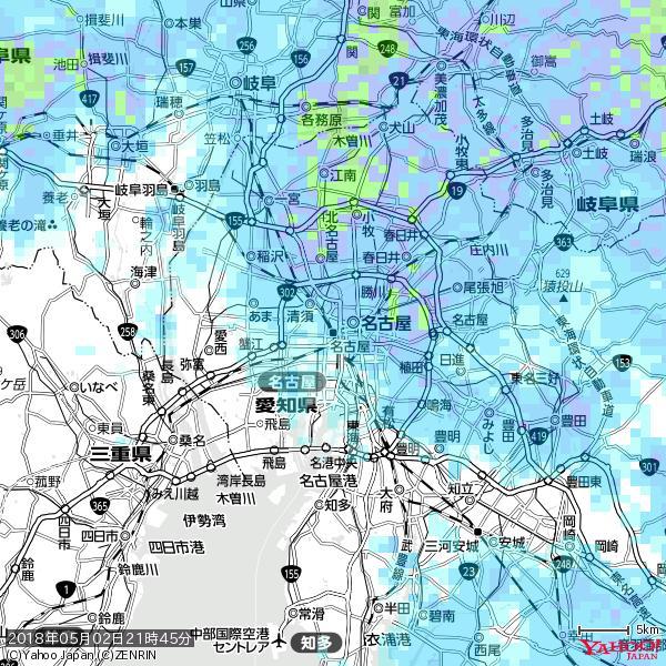 名古屋の天気(雨) 降水強度: 2.13(mm/h)  2018年05月02日 21時45分の雨雲 https://t.co/cYrRU9sV0H #雨雲bot #bot https://t.co/gEIcqL6cB7