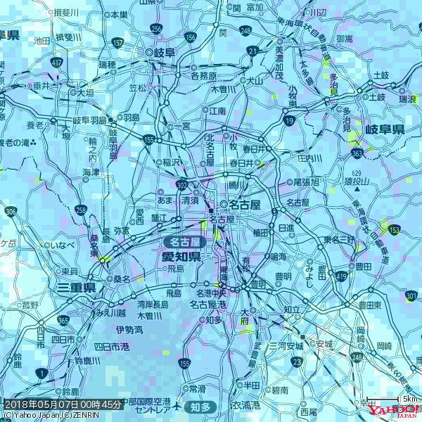 名古屋の天気(雨): やや強い雨 降水強度: 10.50(mm/h)  2018年05月07日 00時45分の雨雲 https://t.co/cYrRU9bk99 #雨雲bot #bot https://t.co/Lf8X5RXaYu