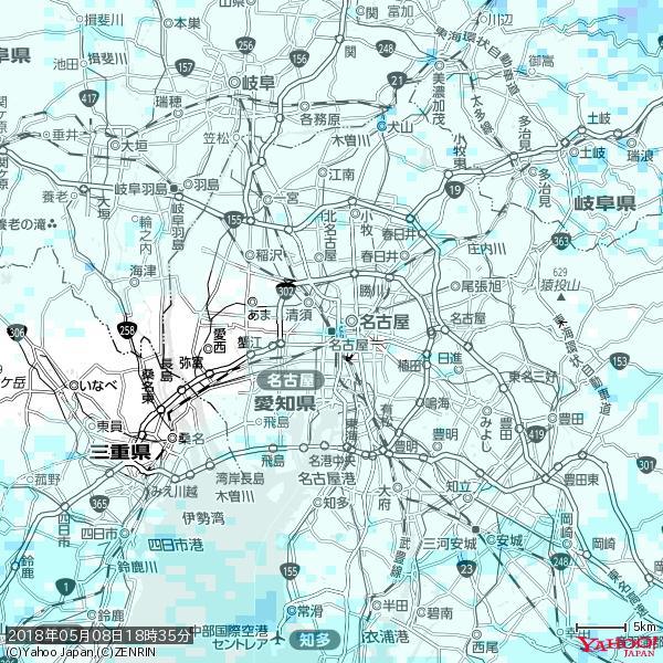 名古屋の天気(雨) 降水強度: 1.15(mm/h)  2018年05月08日 18時35分の雨雲 https://t.co/cYrRU9sV0H #雨雲bot #bot https://t.co/to0guuMXfe